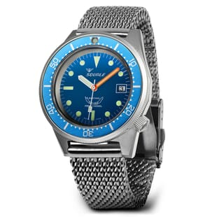 Squale 1521 Swiss Made Diver's Watch - Blue Dial, Blasted Case