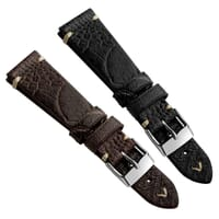 Simple Handmade Watch Strap in Ostrich Leg Leather