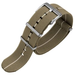 ZULUDIVER E-NATO Elasticated Woven Watch Strap - Khaki & White