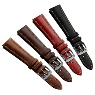 Geckota Kington Vintage Style Leather Dress Watch Strap