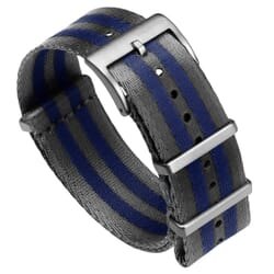 Premium ZULUDIVER Military Herringbone NATO Watch Strap - Grey & Blue