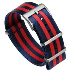 Premium ZULUDIVER Military Herringbone NATO Watch Strap - Blue & Red