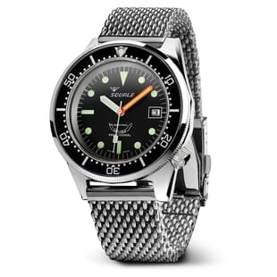 Squale 1521 Swiss Made Diver's Watch - Black Dial Polished Case