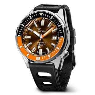 Squale Matic Swiss Diver's Watch - Brown Dial Polished Case