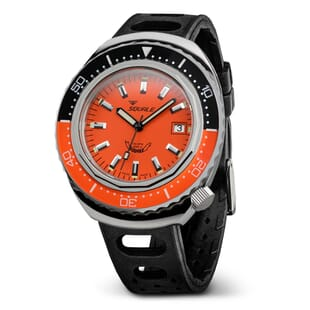 Squale 2002 Swiss Made Diver's Watch - Orange Dial Polished Case