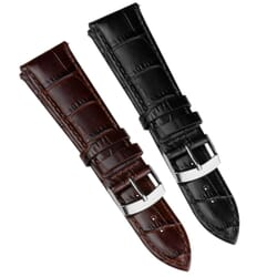 Wide Fitting Alligator Grain Genuine Leather Watch Strap