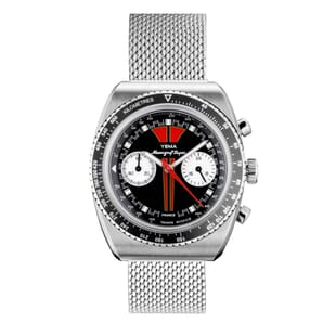 YEMA Meangraf Super R70 Chronograph Watch - Matt Black and Red Dial - 39mm YMHF1576-LM Front