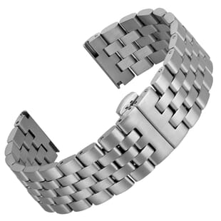 Shillingford Butterfly Solid 5 Link Stainless Steel Watch Strap