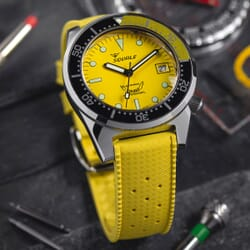 ZULUDIVER Vintage Tropical Style FKM Rubber Watch Strap - Yellow