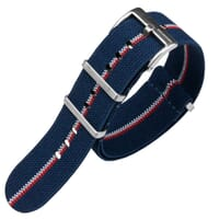ZULUDIVER E-NATO Elasticated Woven Watch Strap - Blue, White & Orange