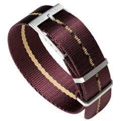 Henwick Single Pass NATO Strap - Burgundy & Beige